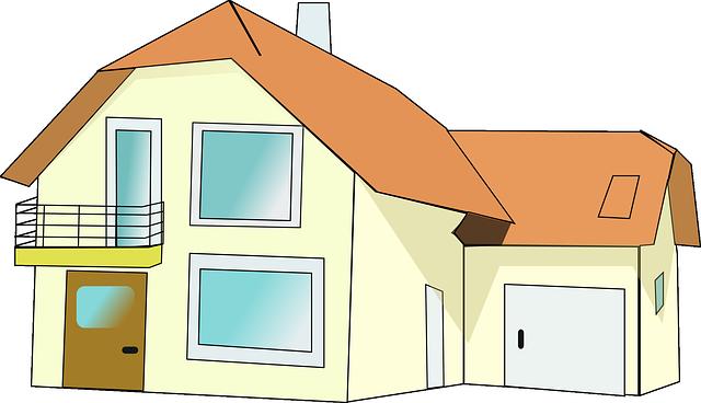 kreslený dům, balkon, červená střecha