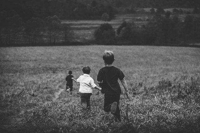 děti si hrají na poli