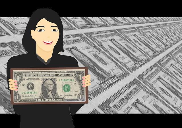 paní s dolarovou bankovkou v ruce
