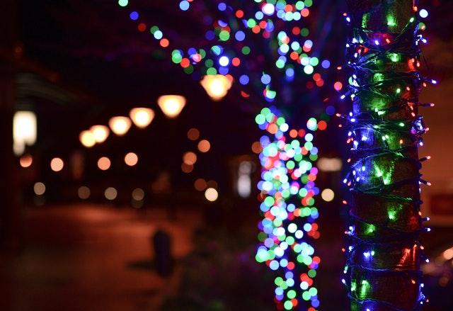 vánoční dekorace, barevná světýlka