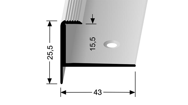 Schodový profil pro krytiny do 15,5 mm Küberit 813